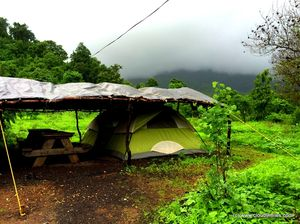 Monsoon Camping – at Mahuli with Big Red Tent